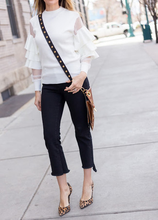 How to wear: white ruffle long sleeve blouse, black fringe jeans, brown leopard suede pumps, black studded leather crossbody bag