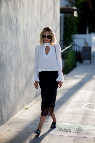 How to wear: white long sleeve blouse, black lace midi skirt, black leather loafers