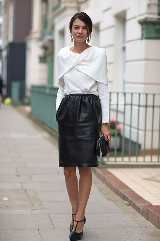 How to wear: white long sleeve blouse, black leather pencil skirt, black cutout leather pumps, black leather clutch