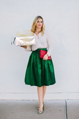 How to wear: white silk long sleeve blouse, dark green pleated satin midi skirt, silver sequin pumps, red leather clutch