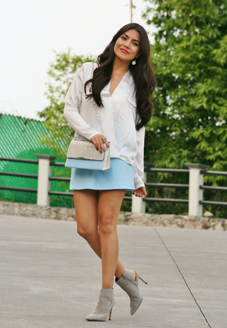 How to wear: white silk long sleeve blouse, light blue mini skirt, grey cutout suede ankle boots, light blue leather crossbody bag