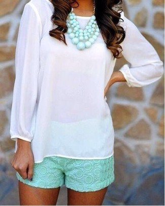 How to wear: white long sleeve blouse, mint lace shorts, light blue necklace