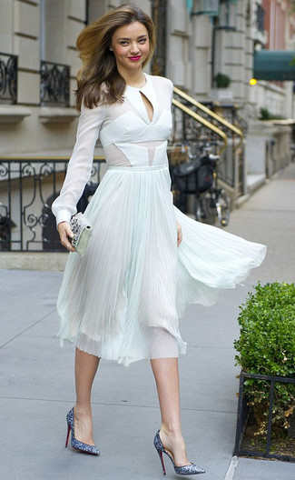 How to wear: white chiffon long sleeve blouse, mint pleated chiffon midi skirt, blue sequin pumps, silver embellished clutch