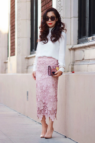White long sleeve blouse pink midi skirt tan pumps large 1056