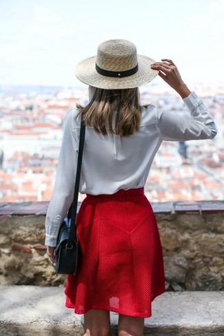 Red Skater Skirt Outfits: If you're a fan of casual style, why not try this combo of a white long sleeve blouse and a red skater skirt?