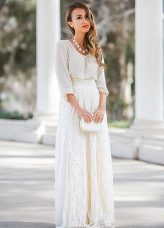 How to wear: white chiffon long sleeve blouse, white lace maxi skirt, white leather clutch, white necklace