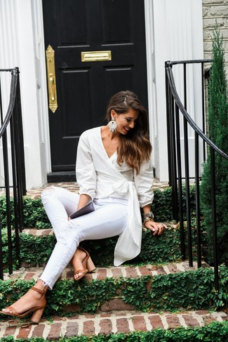 How to Wear Clear Earrings: Putting together a white long sleeve blouse with clear earrings is a good choice for a casual yet absolutely stylish getup. Complete your getup with a pair of tan leather heeled sandals for a dose of class.