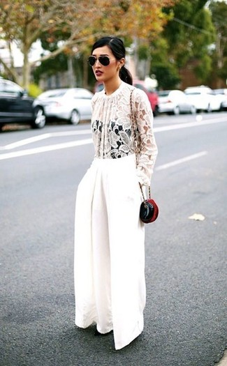 How to wear: white lace long sleeve blouse, white wide leg pants, black leather crossbody bag, black and gold sunglasses