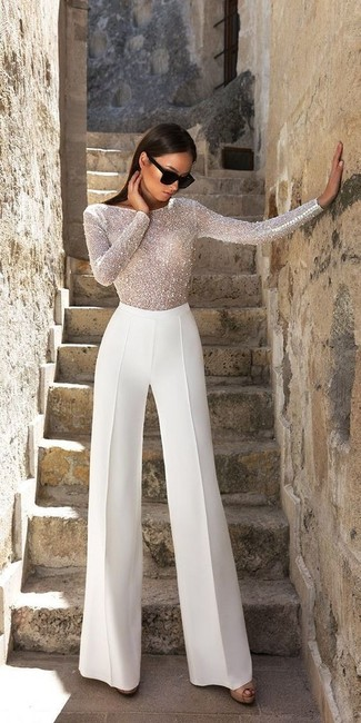How to wear: white beaded long sleeve blouse, white wide leg pants, black leather heeled sandals, black sunglasses