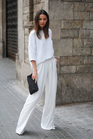 How to Wear a White Linen Long Sleeve Blouse: When the situation calls for a classy yet cool ensemble, marry a white linen long sleeve blouse with white wide leg pants. Introduce white leather pumps to this ensemble et voila, your look is complete.