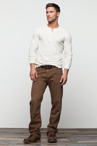 Men's White Long Sleeve Henley Shirt, Brown Chinos, Dark Brown Leather Casual Boots, Dark Brown Leather Belt