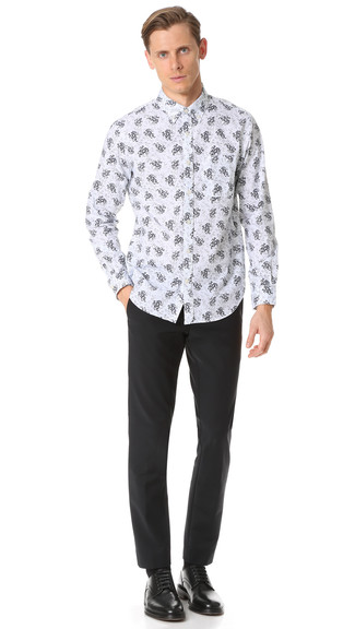 How to Wear a White and Navy Floral Long Sleeve Shirt For Men: Rock a white and navy floral long sleeve shirt with black dress pants and you're bound to make ladies swoon. And if you want to instantly bump up your ensemble with a pair of shoes, complement this outfit with a pair of black leather derby shoes.
