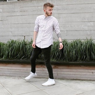 Black Jeans with White and Red Vertical Striped Shirt Relaxed Outfits For Men: A white and red vertical striped shirt and black jeans are a nice pairing to be utilised on lazy days. White canvas high top sneakers are the most effective way to give an added dose of style to this outfit.