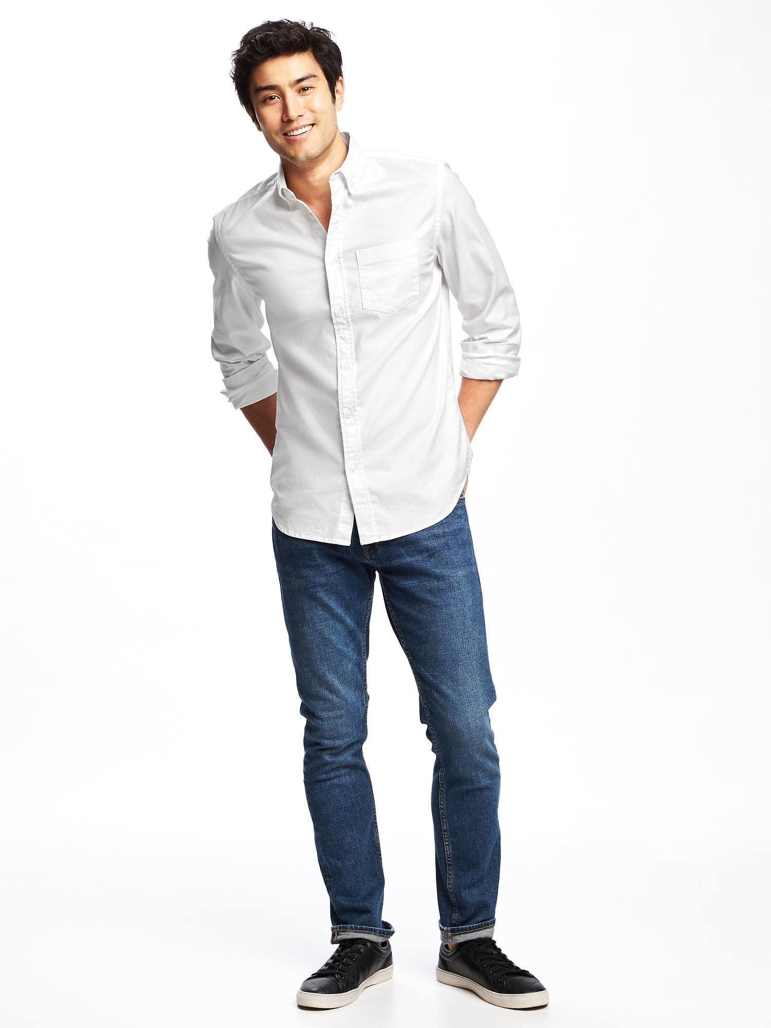 White Long Sleeve Shirt, Blue Jeans