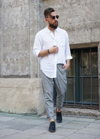 How to wear: white long sleeve shirt, grey plaid chinos, black leather derby shoes, black sunglasses