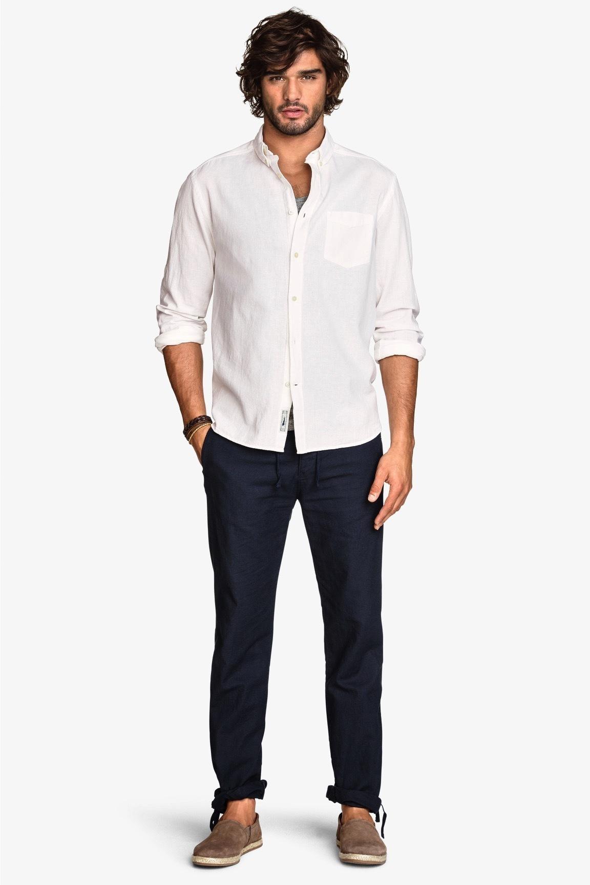 80c989db2a4 Men s White Long Sleeve Shirt