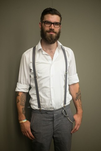 How to wear: white long sleeve shirt, grey check wool dress pants, grey suspenders