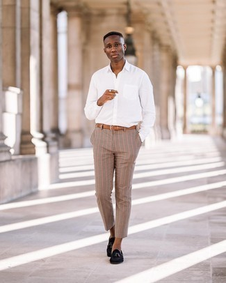 Tobacco Leather Belt Outfits For Men: You'll be surprised at how super easy it is for any man to get dressed this way. Just a white long sleeve shirt and a tobacco leather belt. For a more refined vibe, why not complement your look with a pair of black suede tassel loafers?