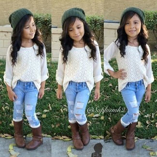How to wear: white lace long sleeve shirt, light blue jeans, dark brown boots, dark green beanie