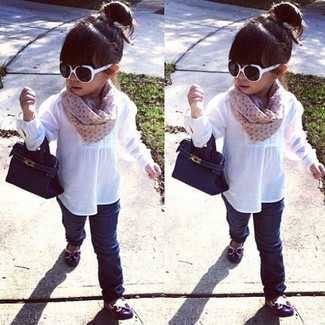 How to wear: white long sleeve shirt, navy jeans, purple ballet flats, tan scarf