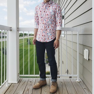Men's Outfits 2020: This combination of a white print long sleeve shirt and navy jeans is extremely easy to put together and so comfortable to wear over the course of the day as well! Add tan suede casual boots to the equation to kick things up to the next level.