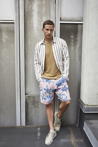 Go for a 7 For All Mankind Striped Long Sleeve Sport Shirt Whiteblack and pink floral swim shorts for comfort dressing from head to toe. Why not introduce beige low top sneakers to the equation for an added touch of style? As you can see, this is a killer pick for hot weather.