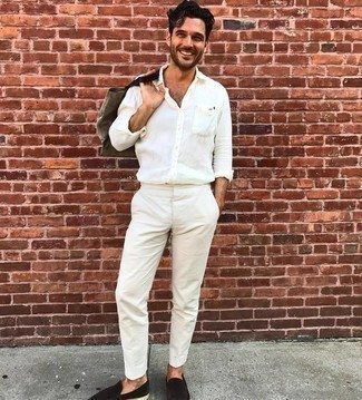 White Long Sleeve Shirt Outfits For Men: You're looking at the indisputable proof that a white long sleeve shirt and white chinos are awesome when teamed together in a relaxed casual menswear style. Dark brown suede loafers introduce a sophisticated aesthetic to the outfit.