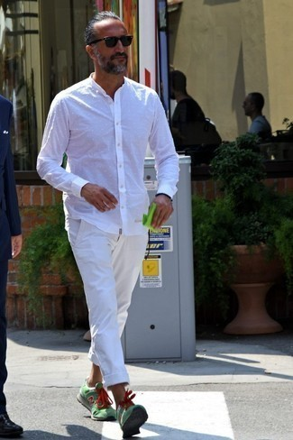 Jeans White Polka Dot Tailored Dress Shirt