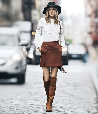Karlie Kloss wearing White Lace Long Sleeve T-shirt, Brown Mini Skirt, Brown Suede Over The Knee Boots, Black Wool Hat
