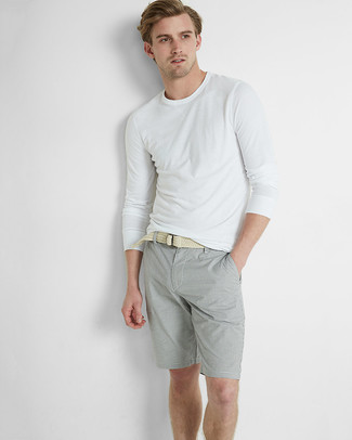 How to wear: white long sleeve t-shirt, grey shorts, beige woven canvas belt