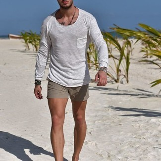 How to wear: white long sleeve t-shirt, grey shorts, dark brown bracelet