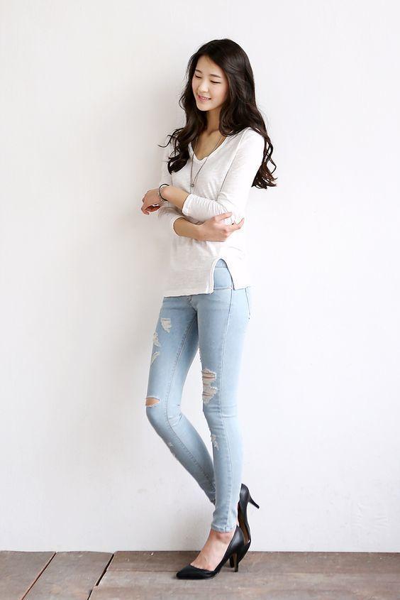Women's White Long Sleeve T-shirt, Light Blue Ripped Skinny Jeans ...