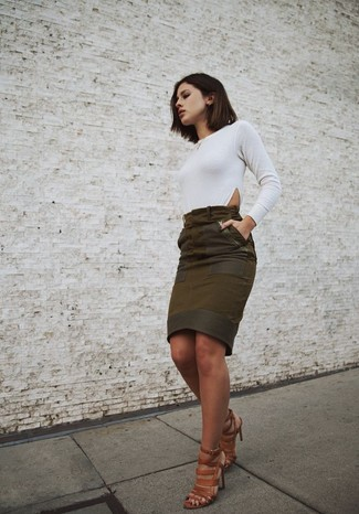 Women's White Long Sleeve T-shirt, Olive Suede Pencil Skirt, Brown ...