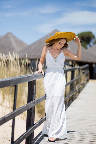 How to wear: white maxi dress, yellow straw hat, gold bracelet, gold pendant