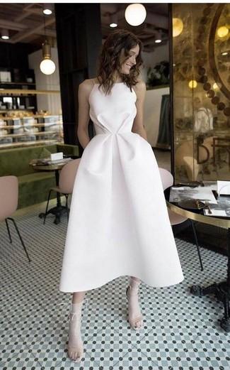 How to wear: white midi dress, beige leather heeled sandals, white socks