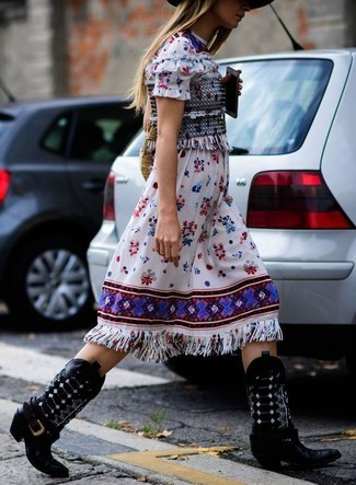 How to wear: white embroidered midi dress, black leather cowboy boots, tan straw tote bag, black wool hat