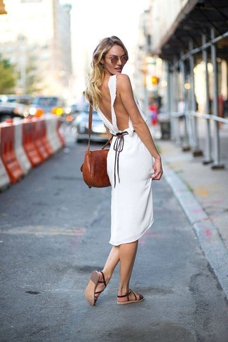How to wear: white midi dress, dark brown leather flat sandals, brown leather crossbody bag, brown sunglasses