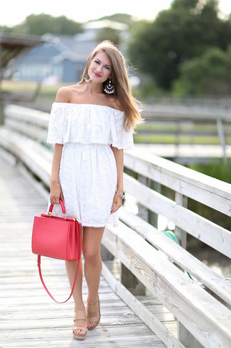 How to wear: white lace off shoulder dress, beige leather heeled sandals, red leather tote bag, white beaded earrings