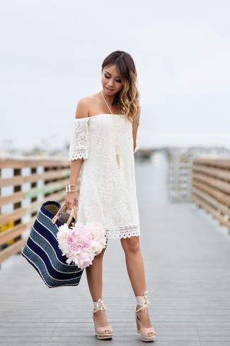 Women's White Lace Off Shoulder Dress, Pink Suede Wedge Sandals, Navy Horizontal Striped Straw Tote Bag, Pink Pendant