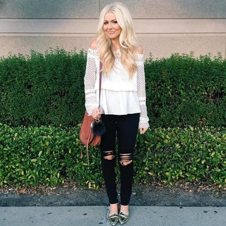 How to wear: white lace off shoulder top, black ripped skinny jeans, silver leather loafers, brown leather crossbody bag