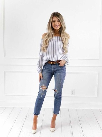 How to wear: white vertical striped off shoulder top, blue ripped skinny jeans, white leather pumps, brown leather belt