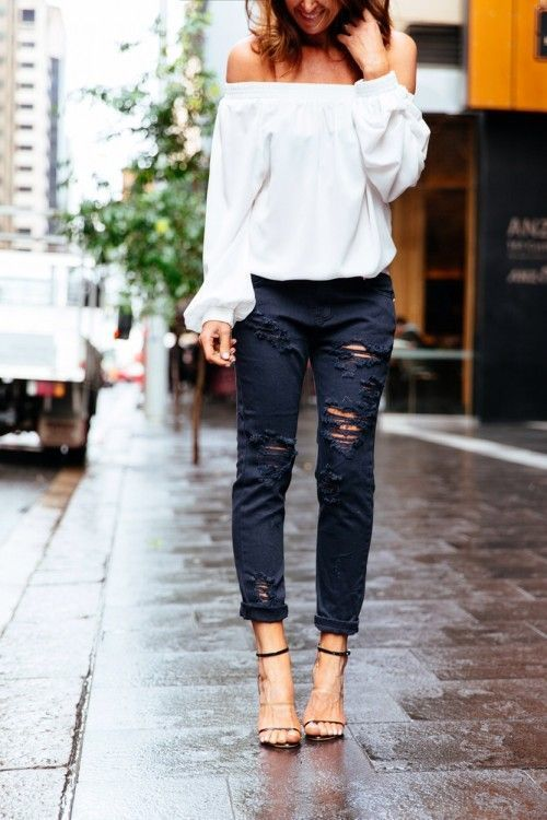 Women's White Off Shoulder Top, Charcoal Ripped Jeans, Black and ...