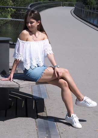 How to wear: white lace off shoulder top, light blue denim mini skirt, white fringe leather low top sneakers, silver watch