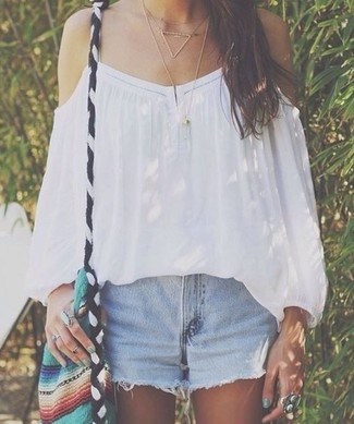 How to wear: white off shoulder top, light blue denim shorts, multi colored canvas crossbody bag, gold necklace