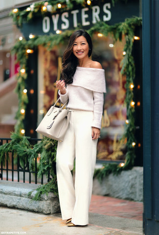How to wear: white knit off shoulder top, white wide leg pants, gold leather pumps, beige leather tote bag