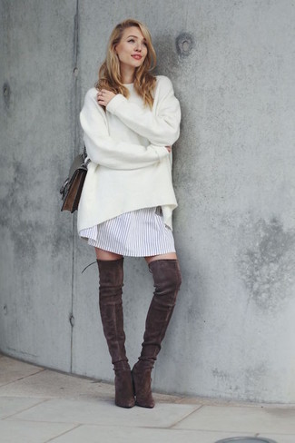 How to wear: white oversized sweater, white vertical striped shirtdress, dark brown suede over the knee boots, dark brown leather crossbody bag
