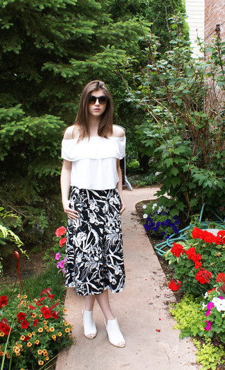 How to wear: white ruffle peasant blouse, black and white floral midi skirt, white leather mules, dark brown sunglasses