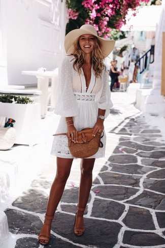 How to wear: white peasant dress, tan leather heeled sandals, brown leather crossbody bag, silver watch
