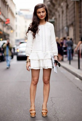 How to wear: white crochet peasant dress, tan leather pumps, black sunglasses, gold bracelet