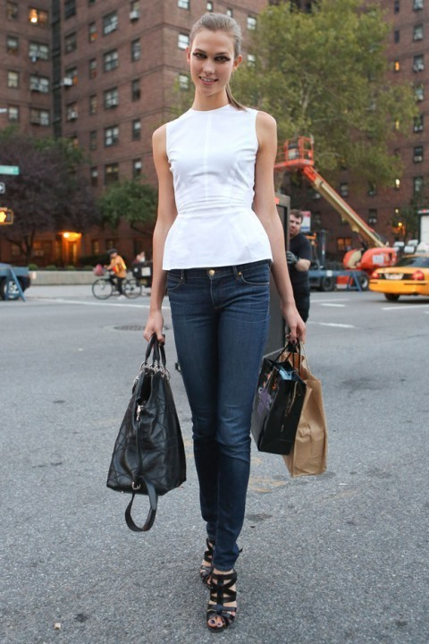 Women&39s White Peplum Top Navy Skinny Jeans Black Leather Heeled
